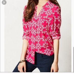 Anthropologie Maeve pink button up shirt - fit s/m